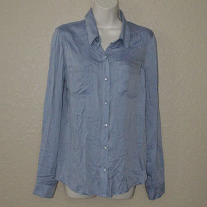 Sz S Ella Moss Blue White Lace Back Blouse